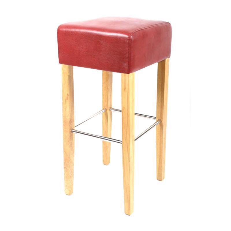 Barhocker bistrohocker stuhl hocker massiv buche rot bar for Barhocker in rot