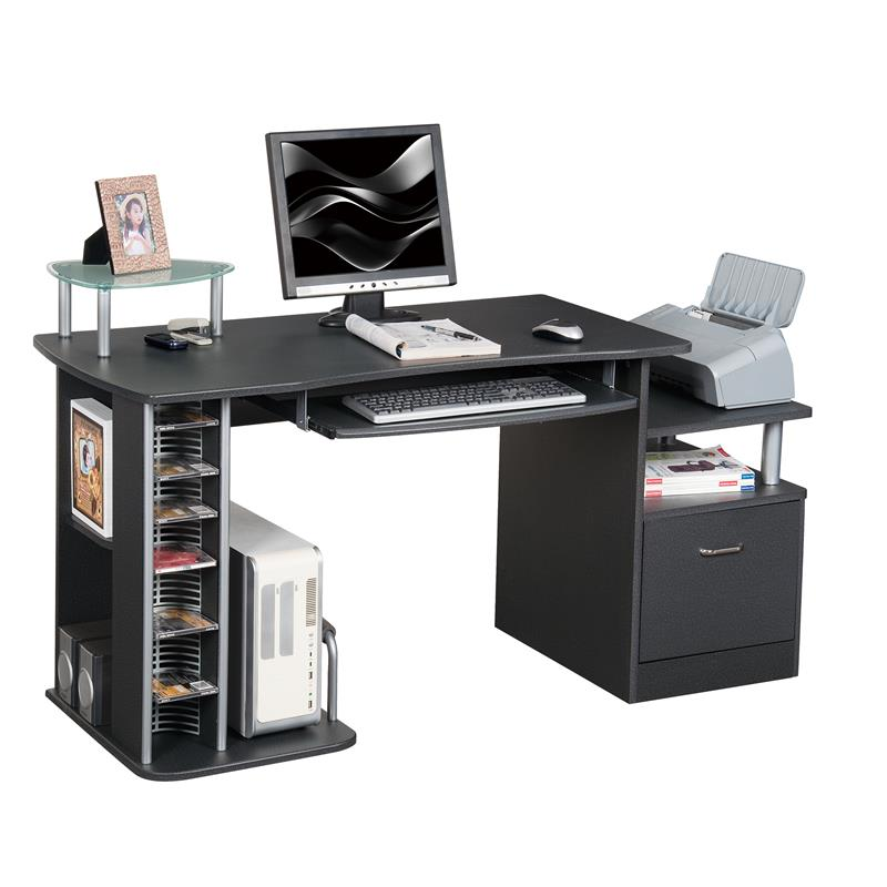 Bureau informatique meubles de bureau noir s 202a 85 for Meuble bureau informatique but