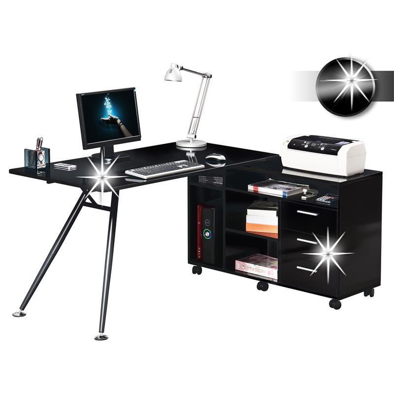 Computerschreibtisch schreibtisch hochglanz schwarz ct for Schreibtisch hochglanz schwarz
