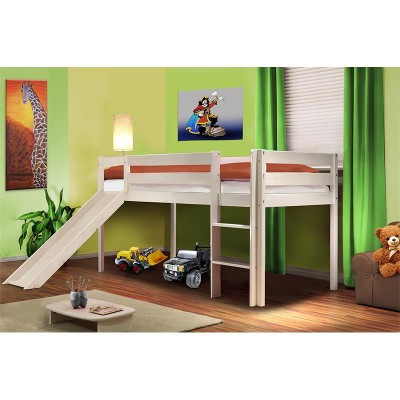 sixbros hochbett kinderbett etagenbett massiv kiefer rutsche spielbett 90x200. Black Bedroom Furniture Sets. Home Design Ideas