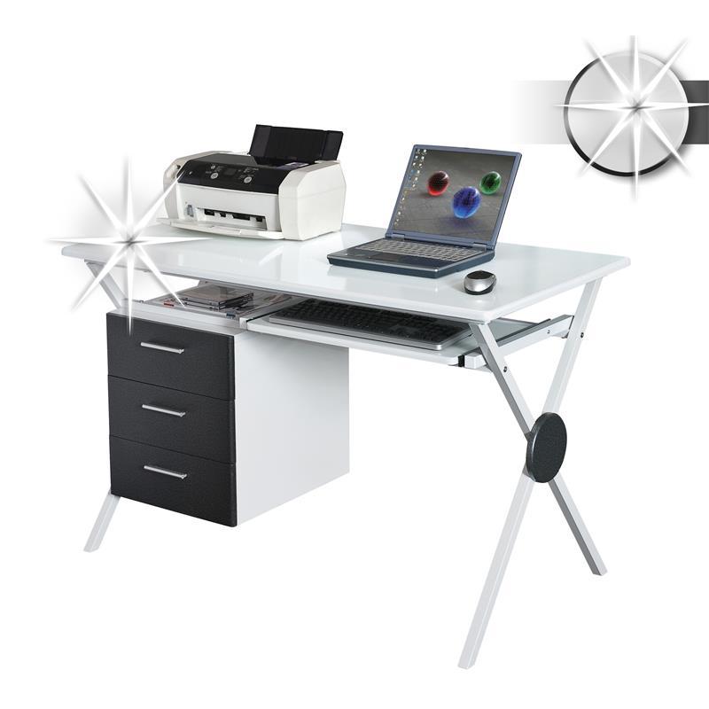 sixbros computerschreibtisch pc schreibtisch hochglanz. Black Bedroom Furniture Sets. Home Design Ideas