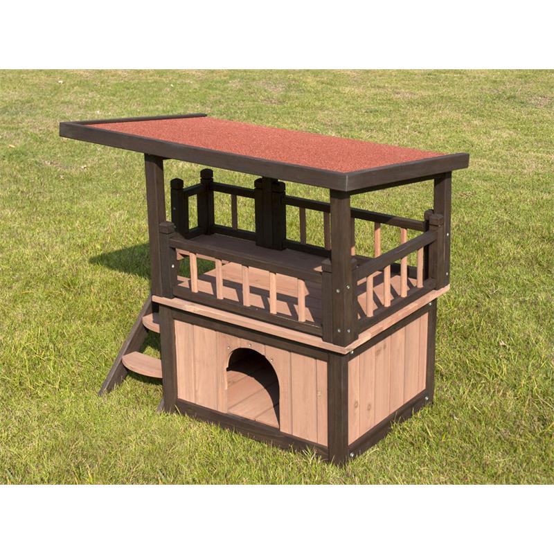 sixbros hunde und katzenh tte holz wetterfest mit balkon. Black Bedroom Furniture Sets. Home Design Ideas