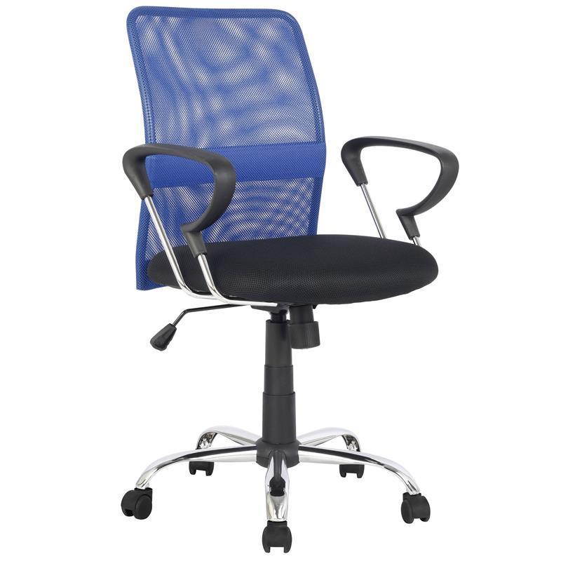 Sixbros silla de oficina con apoyabrazos azul negro h for Sillas con apoyabrazos