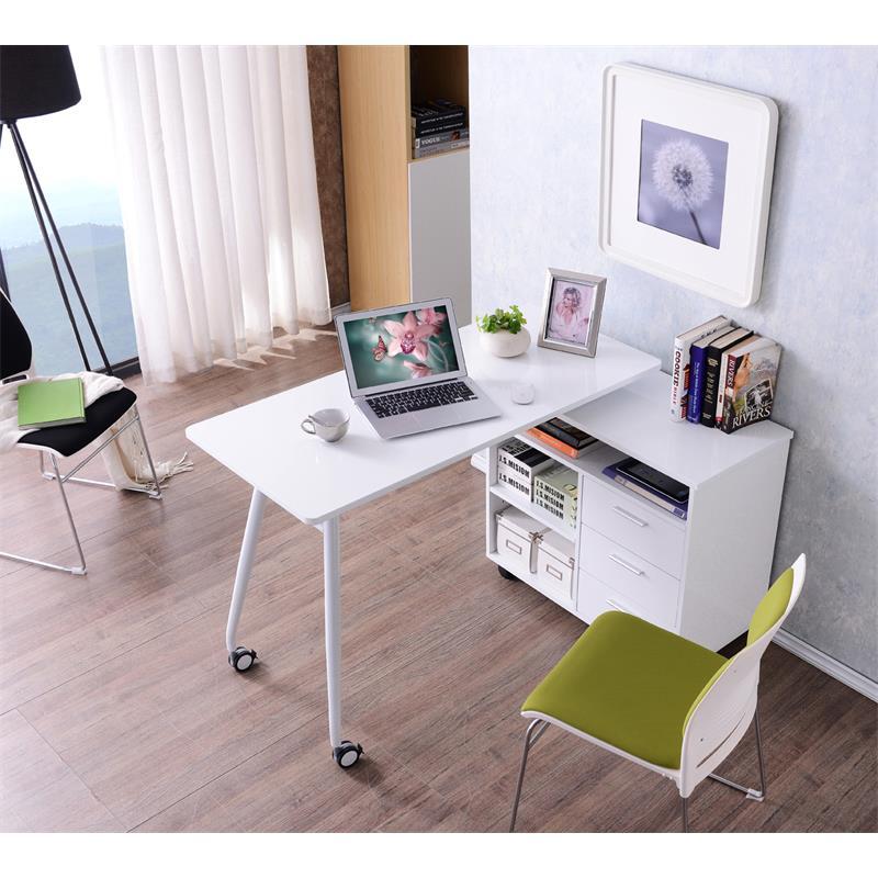 Sixbros scrivania porta pc tavolo ufficio colore bianco - Porta computer bianco ...