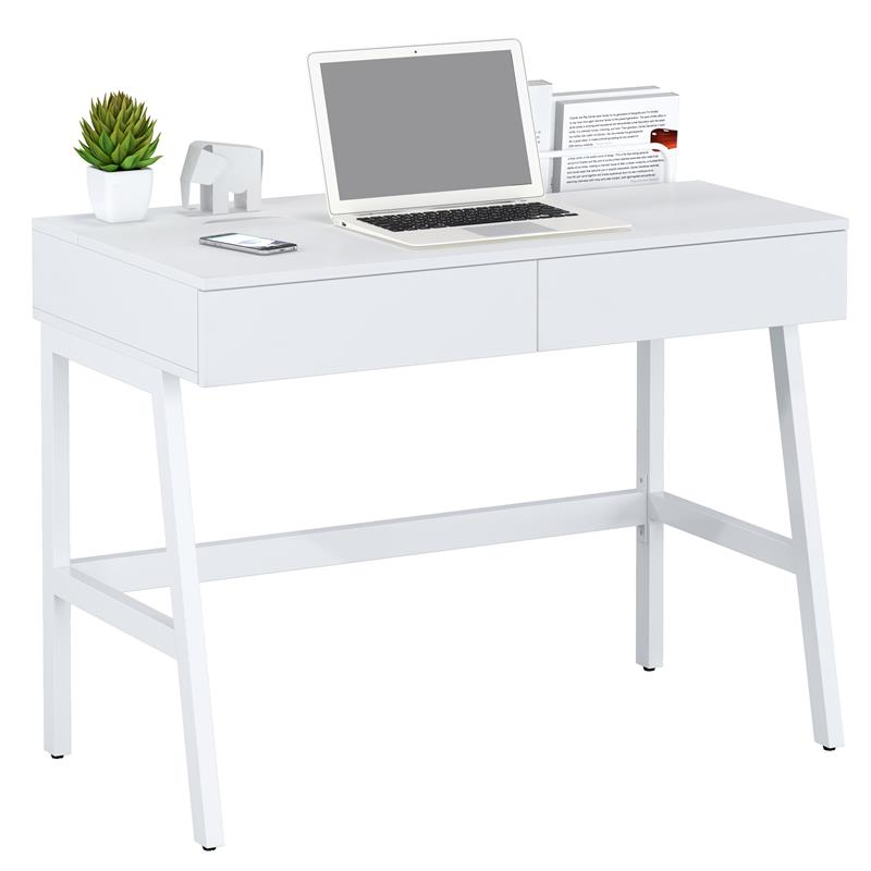 Sixbros Computer Desk Office Desk High Gloss White Ct
