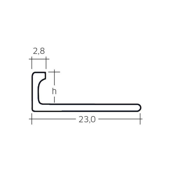 Fliesenschiene-Fliesenprofil-Abschlussprofil-Quadrat-Winkel-Viertelkreis-2500-mm