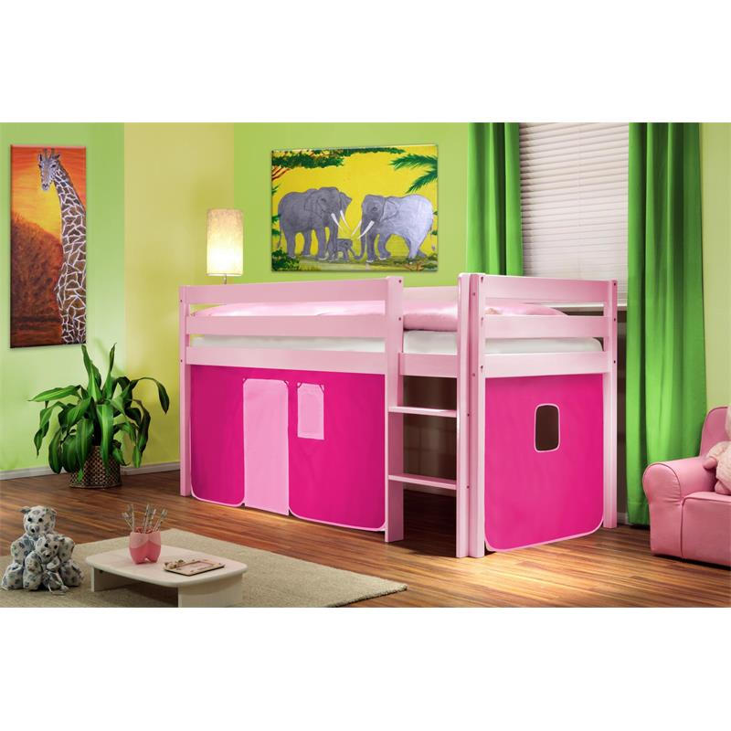 hochbett kinderbett vorhang pink kiefer rosa 90x200 shb 31. Black Bedroom Furniture Sets. Home Design Ideas