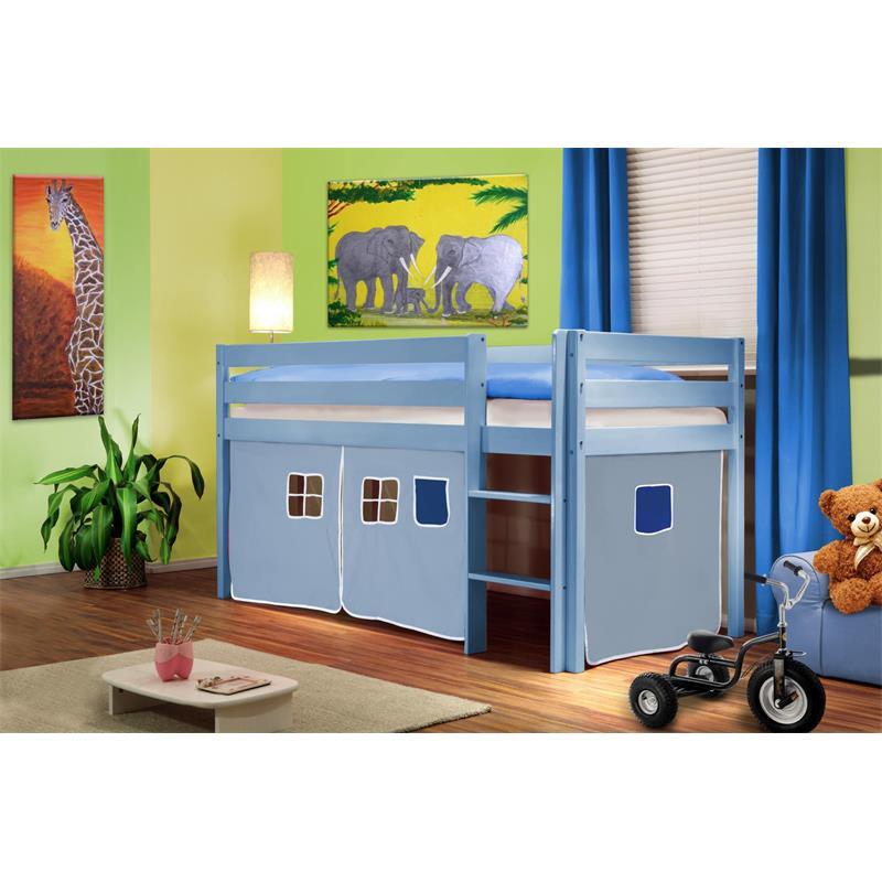 Sixbros lit sur lev lit d enfant rideau bleu clair bois de pin bleu shb 34 - Rideau pour lit sureleve ...