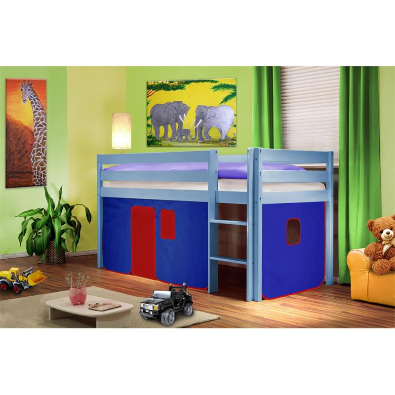 lit sur lev lit d 39 enfant rideau bleu rouge bois de pin bleu shb 37 sixbros ebay. Black Bedroom Furniture Sets. Home Design Ideas