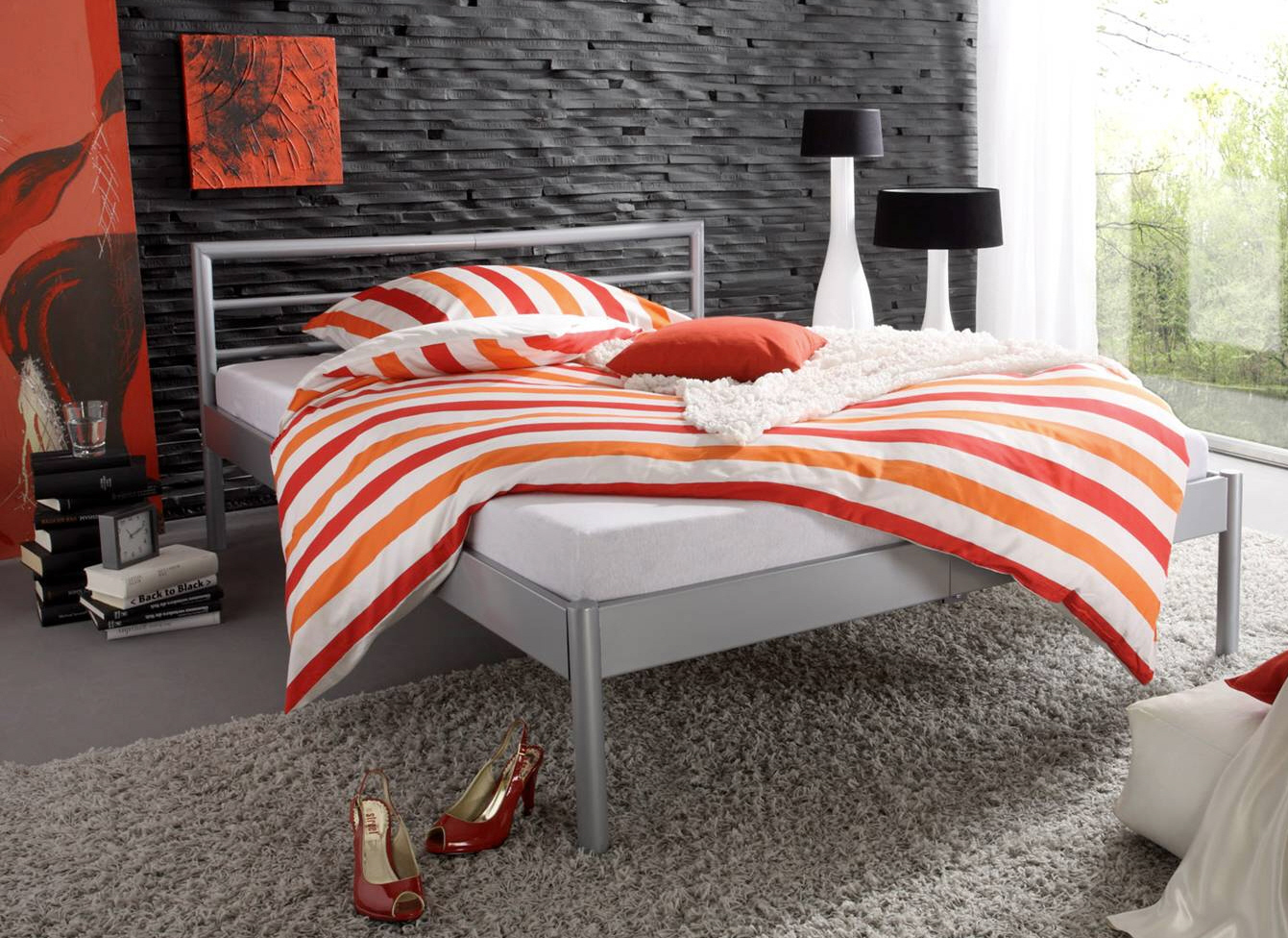 metallbett bett 140x200 silber doppelbett marius sixbros ebay. Black Bedroom Furniture Sets. Home Design Ideas