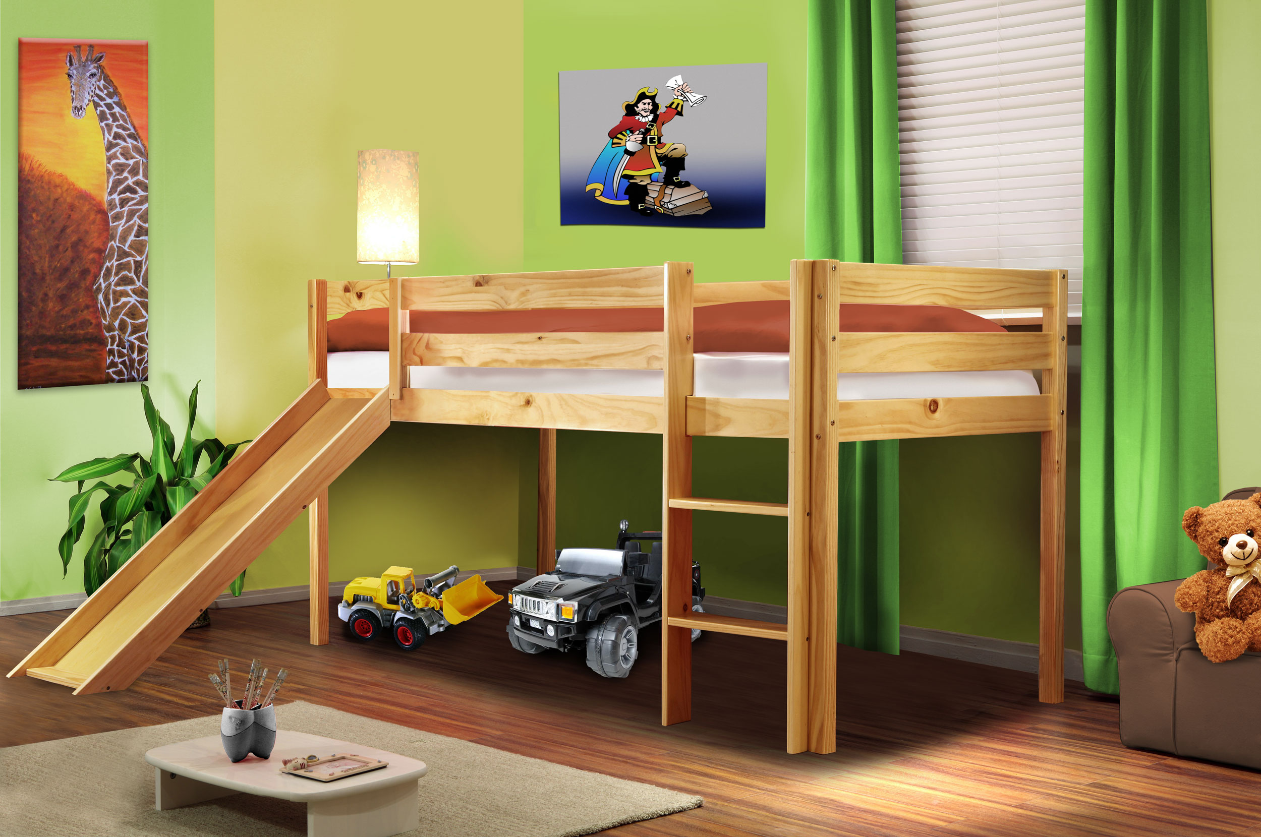 hochbett kinderbett spielbett mit rutsche massiv kiefer. Black Bedroom Furniture Sets. Home Design Ideas