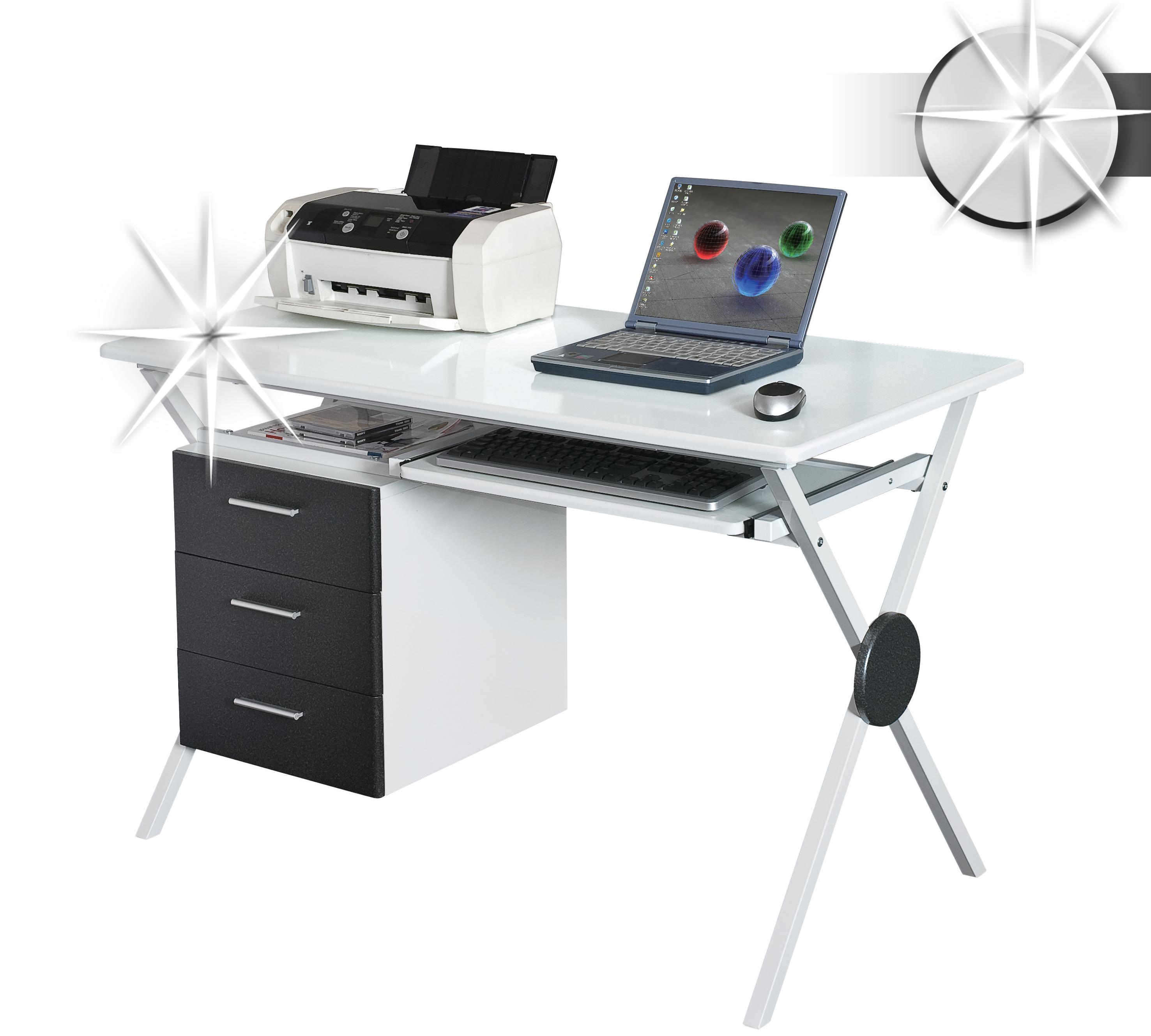 Computerschreibtisch pc schreibtisch hochglanz wei for Schreibtisch hochglanz schwarz