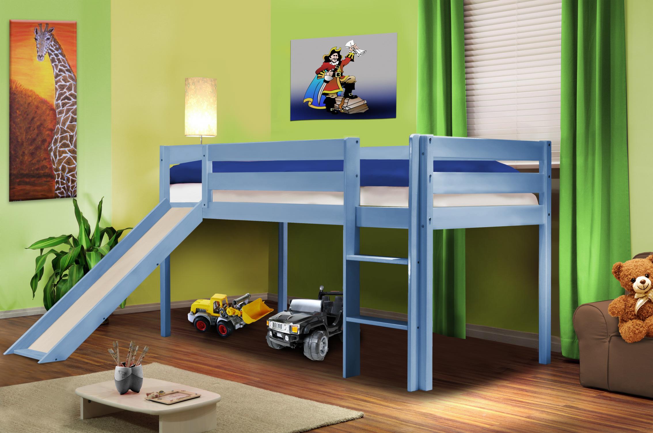 hochbett kinderbett spielbett mit rutsche massiv kiefer. Black Bedroom Furniture Sets. Home Design Ideas