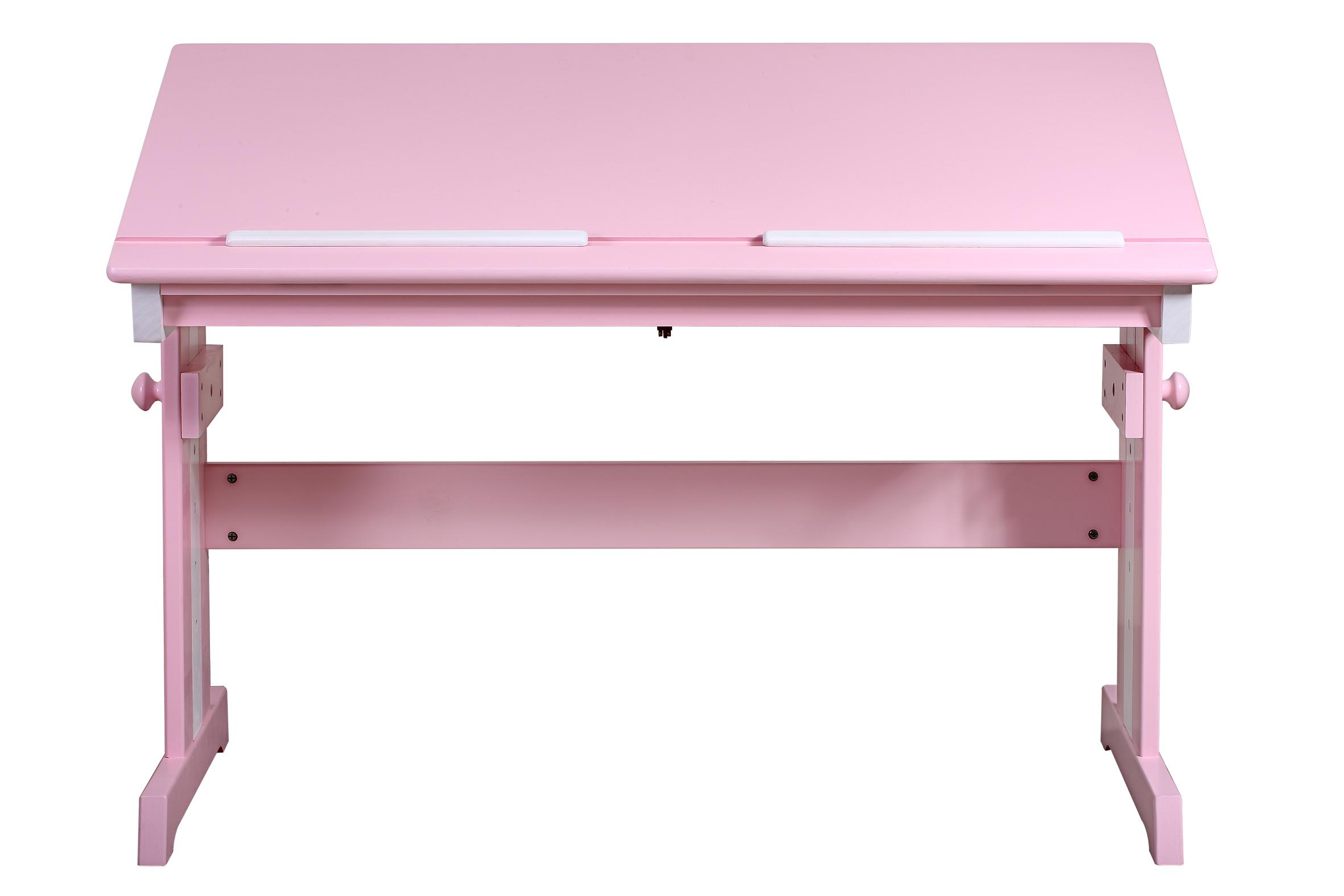 Bureau pour enfant en bois de pin massif rose blanc for Bureau en bois pour enfant