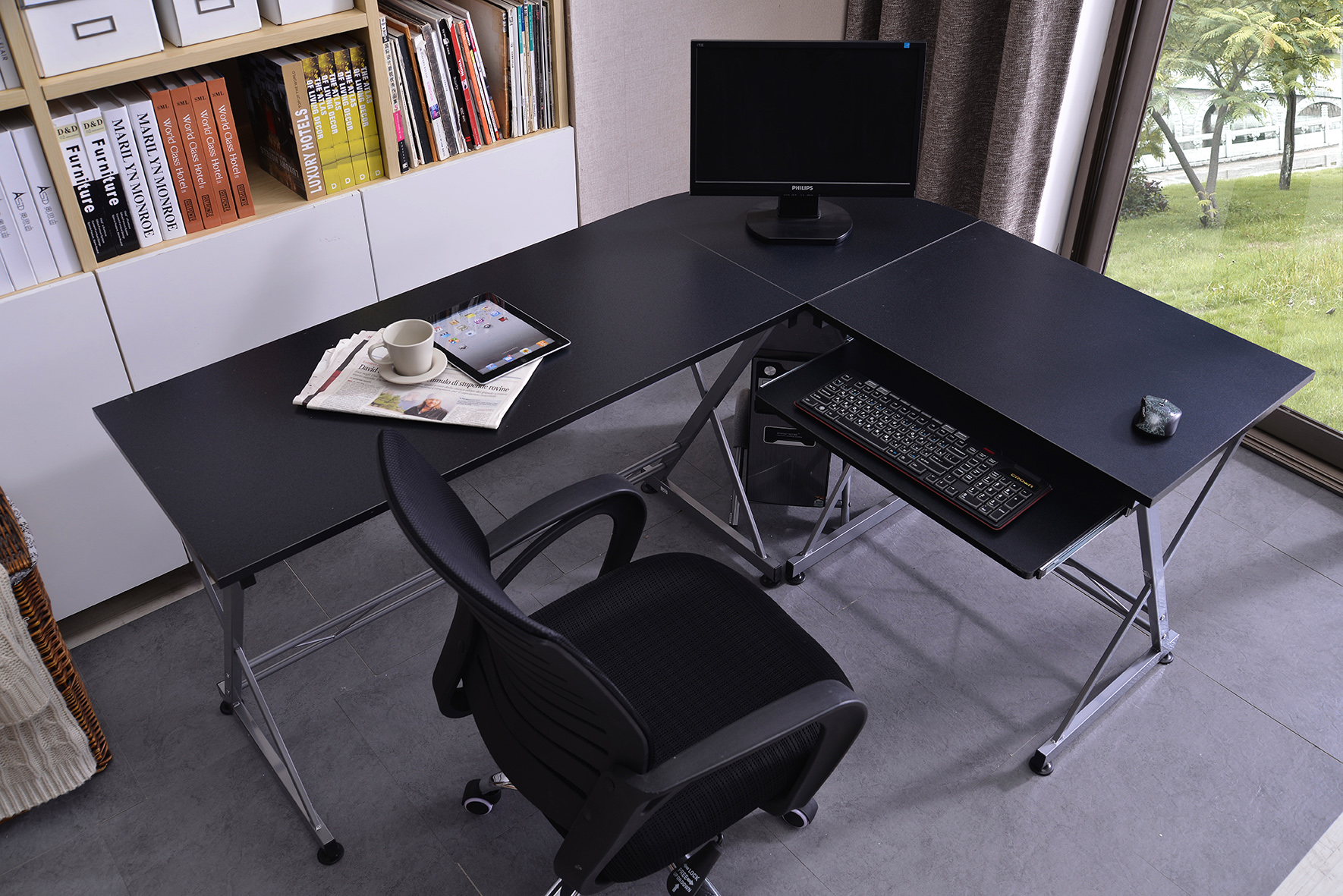 sixbros bureau informatique table de travail diff rentes couleurs ct 3802 ebay. Black Bedroom Furniture Sets. Home Design Ideas