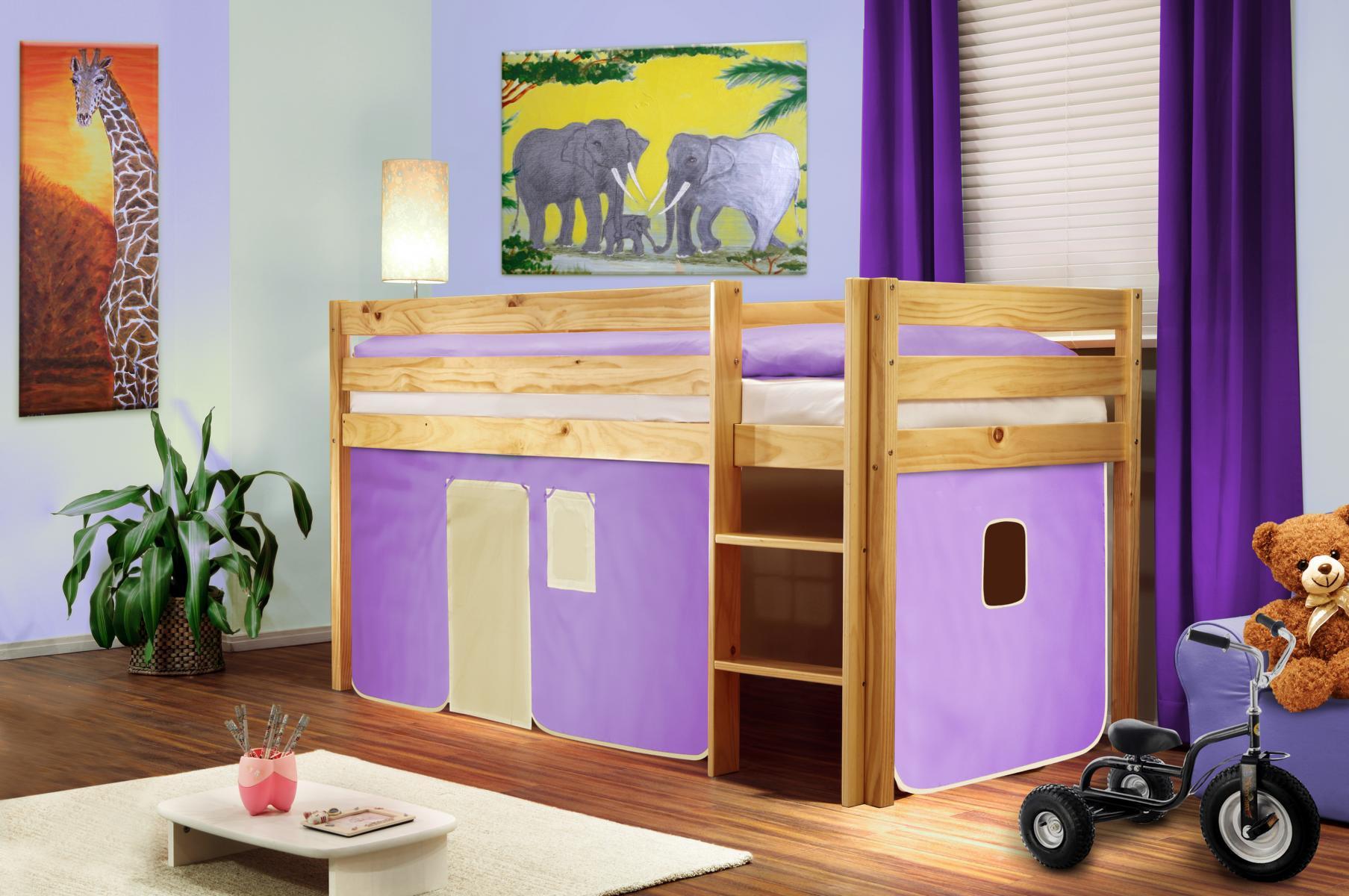 Lit sur lev lit d 39 enfant rideau violet beige pin naturel shb 10 sixbros - Rideau pour lit sureleve ...