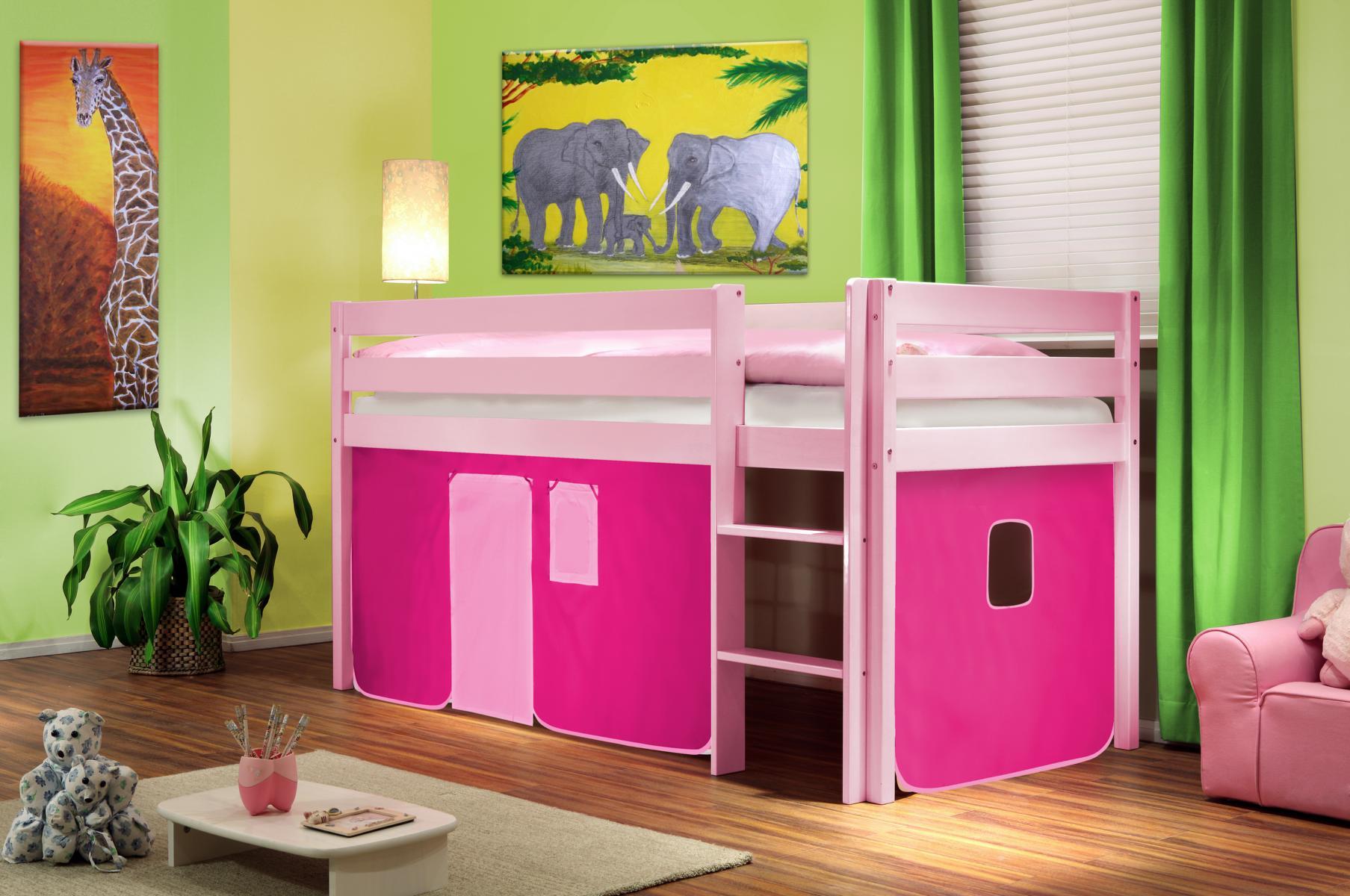 Lit sur lev lit d 39 enfant rideau rose bois de pin rose shb 31 sixbros ebay - Rideau pour lit sureleve ...