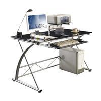 Computerschreibtisch Schreibtisch Glas/Silbergrau CT-3350/33