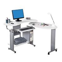SixBros. Mesa de ordenador blanco/gris plateado S-213/98