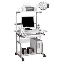 Mobile Computer Desk PC Workstation Office Desk High Gloss White CT-7800/1297