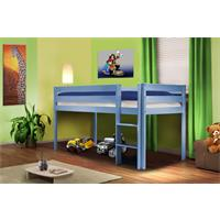Children's Loft Bed Massive Pine Wood Blue SHB/1365