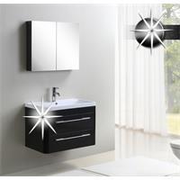 Meubles de salle de bain Milan Noir trés brillant MC802-HG-B/1831