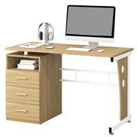 Mesa de ordenador Roble/Blanco plateado S-352/2074