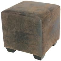 Padded Pouffe/Footstool Brown Antique Leather Look 2001A/2087