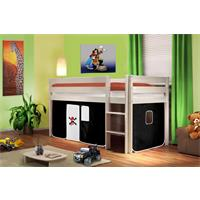 Children's Loft Bed/Playing Bed Solid Pine Wood White Pirat Black/White SHB/01/1034