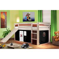 Children's Loft Bed With Slide Sold Pine Wood White Pirat Black/White SHB/02/1032
