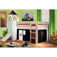 Children's Loft Bed With Tower and Slide Solid Pine Wood White Pirat Black/White SHB/03/1032