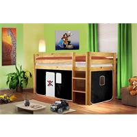 Children's Loft Bed Solid Piine Wood Natural Finish Pirat Black/White SHB/04/1035