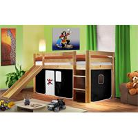 Children's Loft Bed With Slide Solid Piine Wood Natural Coloured Finish Pirat Black/White SHB/05/103
