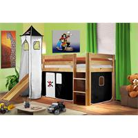 Children's Loft Bed With Tower and Slide Solid Pine Wood Natural Coloured Finish Pirat Black/White S