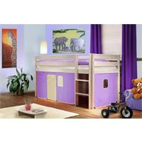 Children's Loft Bed Massive Pine Wood Purple/Beige SHB/07/1034