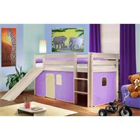 Children's Loft Bed With Slide Massive Pine Wood Purple/Beige SHB/08/1032
