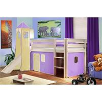 Children's Loft Bed With Tower and Slide Massive Pine Wood Purple/Beige SHB/09/1032