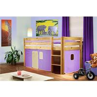 Children's Loft Bed Massive Pine Wood Purple/Beige Natural Coloured Finish SHB/10/1035