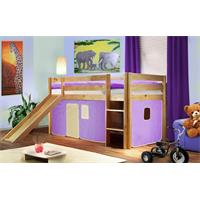 Children's Loft Bed  With Slide Massive Pine Wood Purple/Beige Natural Coloured Finish SHB/11/1