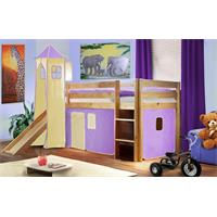 Children's Loft Bed  With Tower and Slide Massive Pine Wood Purple/Beige Natural Coloured Finis