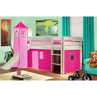 Children's Loft Bed With Tower and Slide Solid Pine Wood White Pink SHB/15/1032
