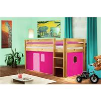 Children's Loft Bed Solid Pine Wood Natural Finish Pink SHB/16/1035