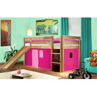 Children's Loft Bed With Slide Solid Pine Wood Natural Coloured Finish Pink SHB/17/1033