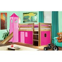 Children's Loft Bed With Tower and Slide Solid Pine Wood Natural Coloured Finish Pink SHB/18/1033