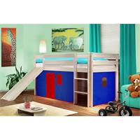 Children's Loft Bed With Slide Solid Pine Wood Blue/Red V2 SHB/20/1032