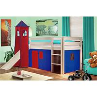 Children's Loft Bed With Tower and Slide Solid Pine Wood White Blue/Red V2 SHB/21/1032