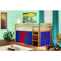 Childrens' Loft Bed Massive Pine Wood Blue/Red V2 Natrual Coloured Finish SHB/22/1035