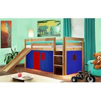 Childrens' Loft Bed With Slide Massive Pine Wood Blue/Red V2 Natrual Coloured Finish SHB/23/1033