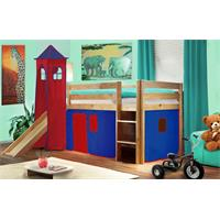 Childrens' Loft Bed With Tower and Slide Massive Pine Wood Blue/Red V2 Natrual Coloured Finish SHB/2