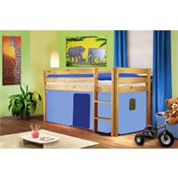 Childrens' Loft Bed Massive Pine Wood Light Blue Natrual Coloured Finish SHB/28/1035